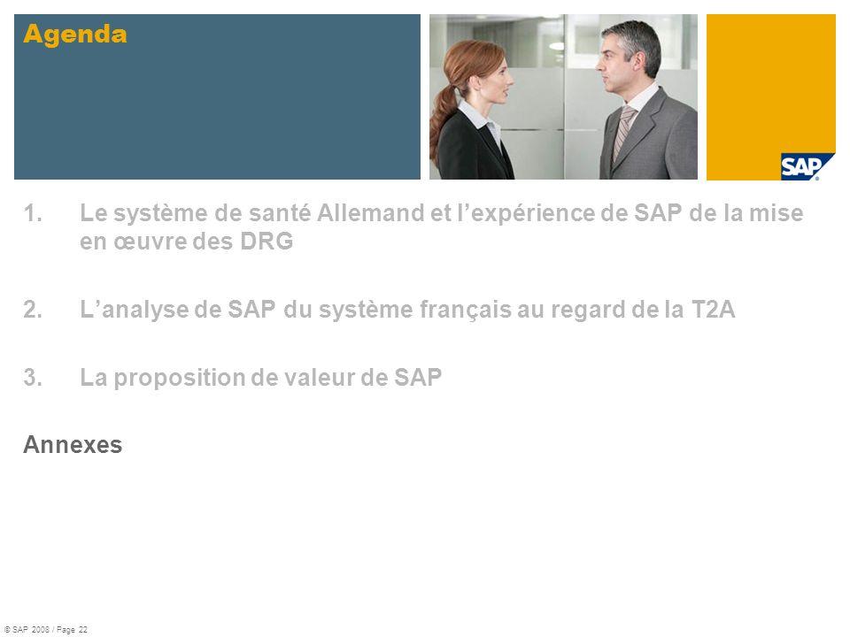 Agenda Le système de santé Allemand et l'expérience de SAP de la mise en œuvre des DRG. L'analyse de SAP du système français au regard de la T2A.