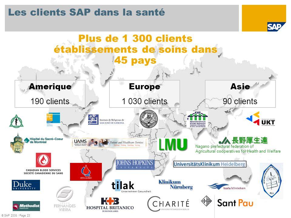 Les clients SAP dans la santé
