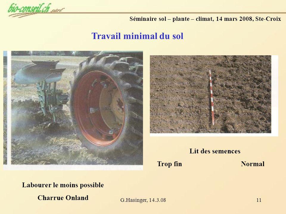 Travail minimal du sol Lit des semences Trop fin Normal