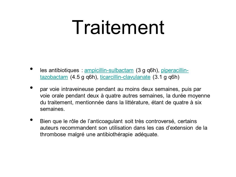 Traitement les antibiotiques : ampicillin-sulbactam (3 g q6h), piperacillin- tazobactam (4.5 g q6h), ticarcillin-clavulanate (3.1 g q6h)