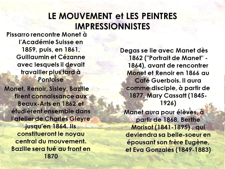 LE MOUVEMENT et LES PEINTRES IMPRESSIONNISTES