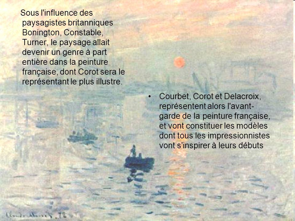 Sous l influence des paysagistes britanniques Bonington, Constable, Turner, le paysage allait devenir un genre à part entière dans la peinture française, dont Corot sera le représentant le plus illustre.