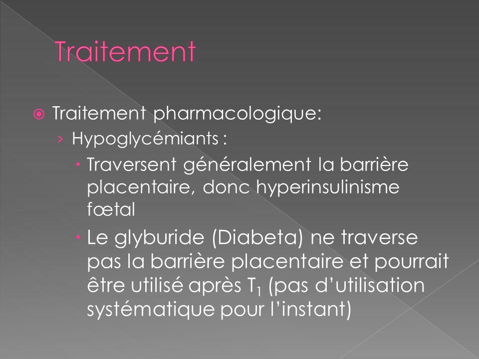 Traitement Traitement pharmacologique: Hypoglycémiants : Traversent généralement la barrière placentaire, donc hyperinsulinisme fœtal.