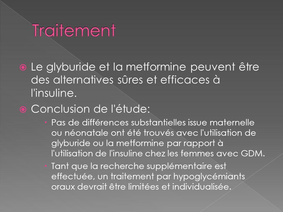 Traitement Le glyburide et la metformine peuvent être des alternatives sûres et efficaces à l insuline.