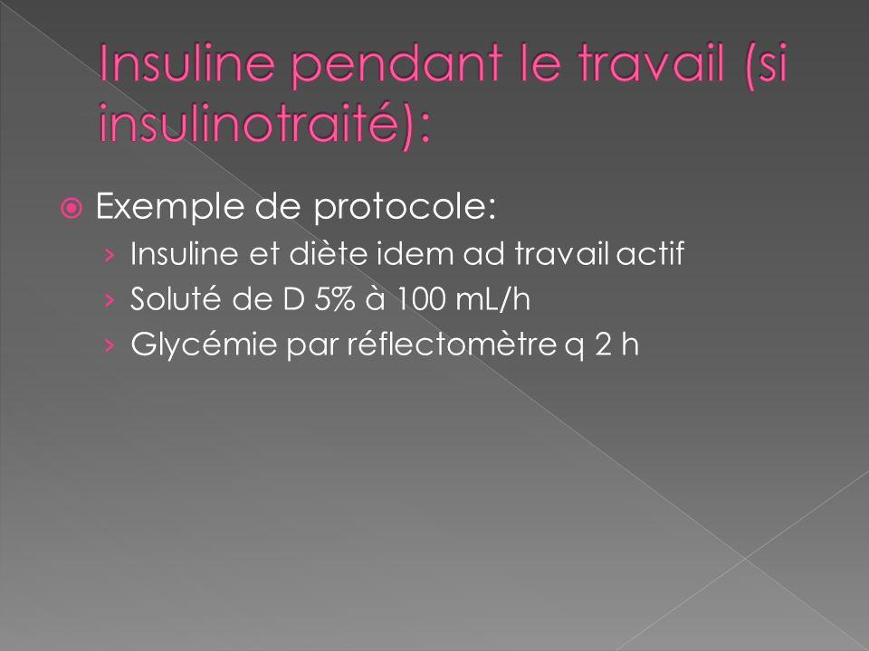 Insuline pendant le travail (si insulinotraité):