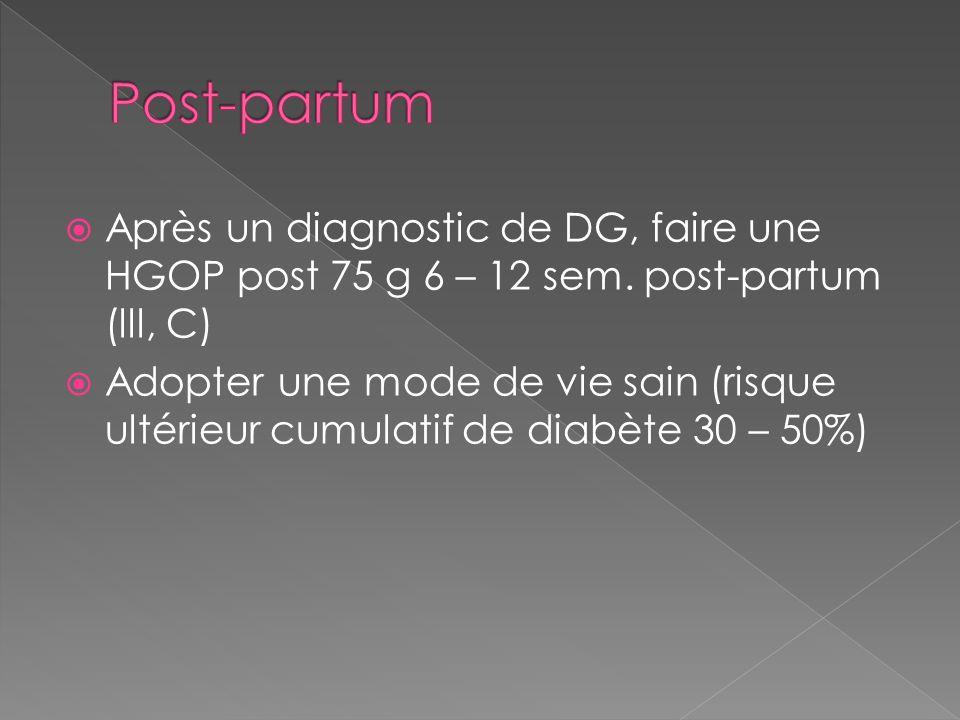 Post-partum Après un diagnostic de DG, faire une HGOP post 75 g 6 – 12 sem. post-partum (lll, C)