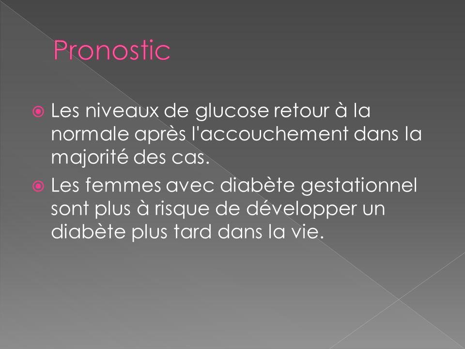 Pronostic Les niveaux de glucose retour à la normale après l accouchement dans la majorité des cas.