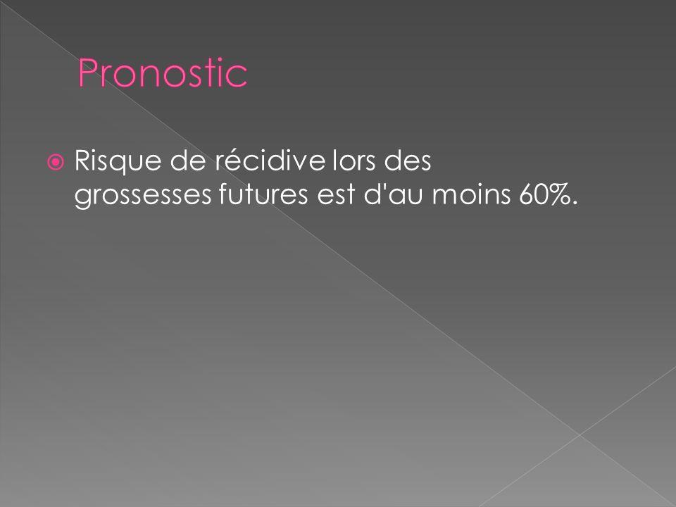Pronostic Risque de récidive lors des grossesses futures est d au moins 60%.