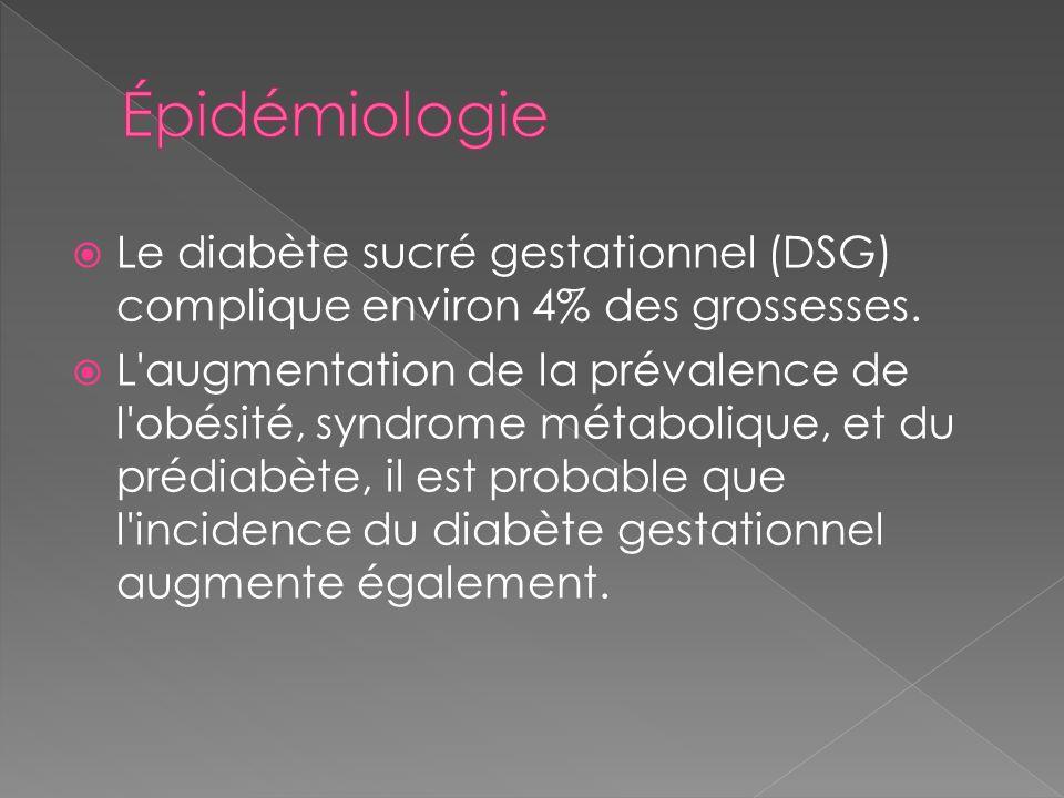 Épidémiologie Le diabète sucré gestationnel (DSG) complique environ 4% des grossesses.