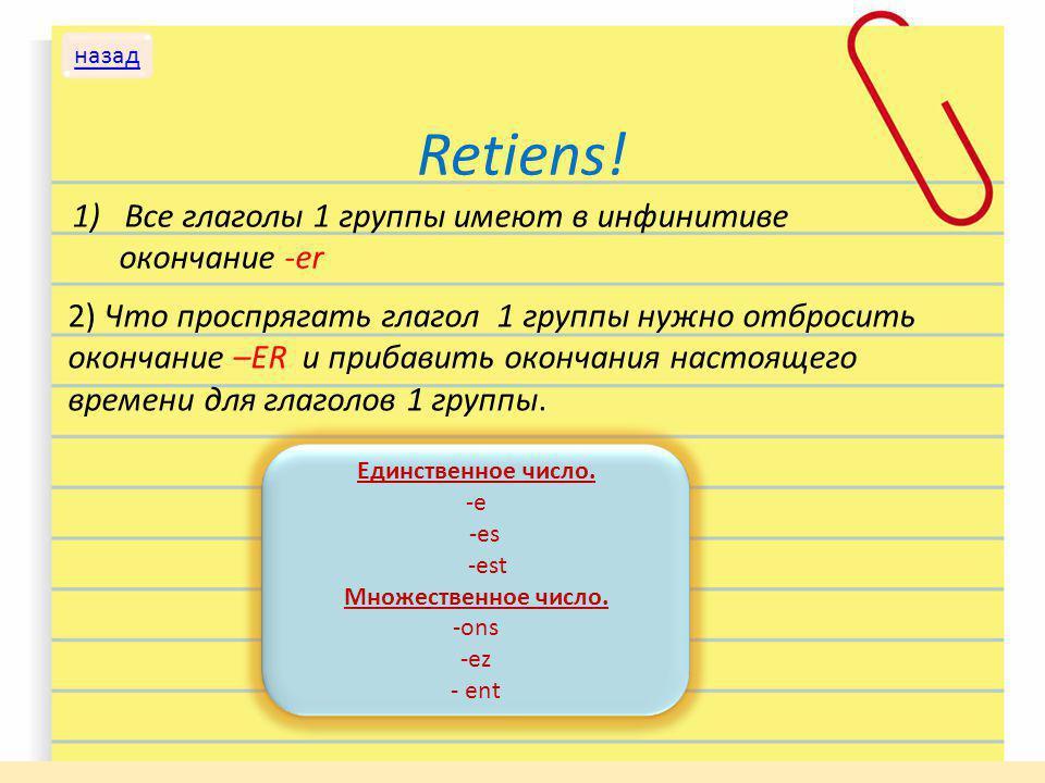 Retiens! Все глаголы 1 группы имеют в инфинитиве окончание -er