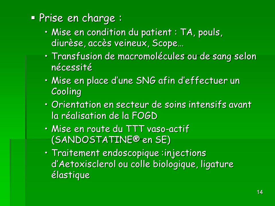 Prise en charge : Mise en condition du patient : TA, pouls, diurèse, accès veineux, Scope… Transfusion de macromolécules ou de sang selon nécessité.