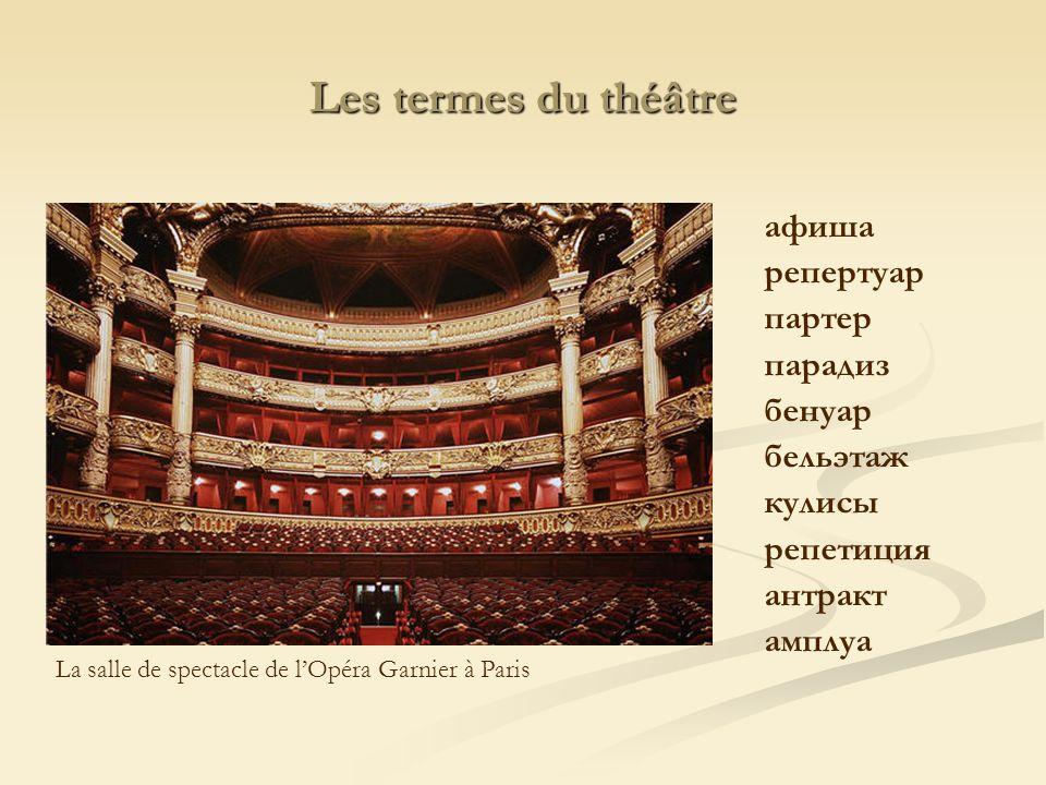 Les termes du théâtre aфиша репертуар партер парадиз бенуар бельэтаж