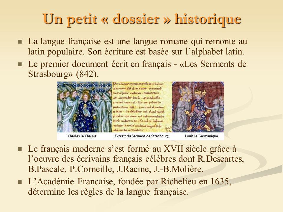 Un petit « dossier » historique