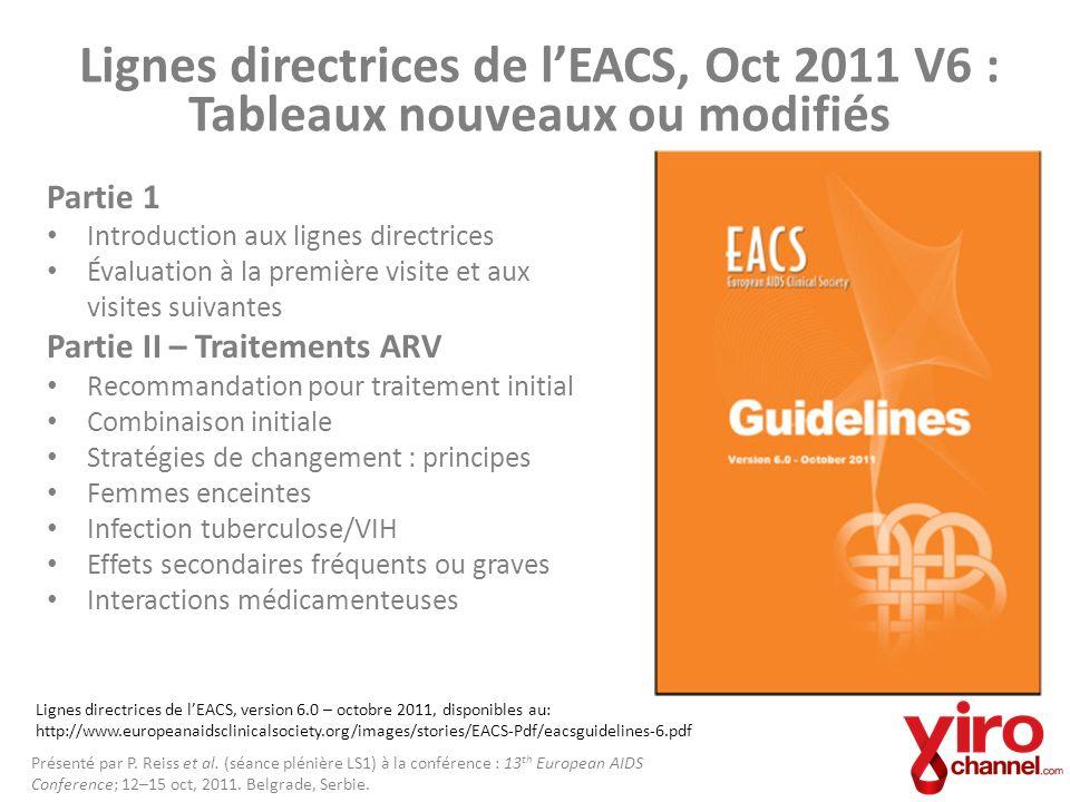 Lignes directrices de l'EACS, Oct 2011 V6 : Tableaux nouveaux ou modifiés
