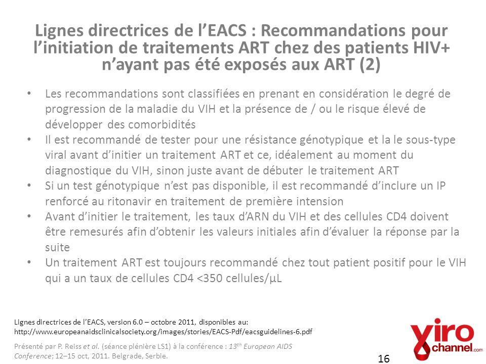 Lignes directrices de l'EACS : Recommandations pour l'initiation de traitements ART chez des patients HIV+ n'ayant pas été exposés aux ART (2)