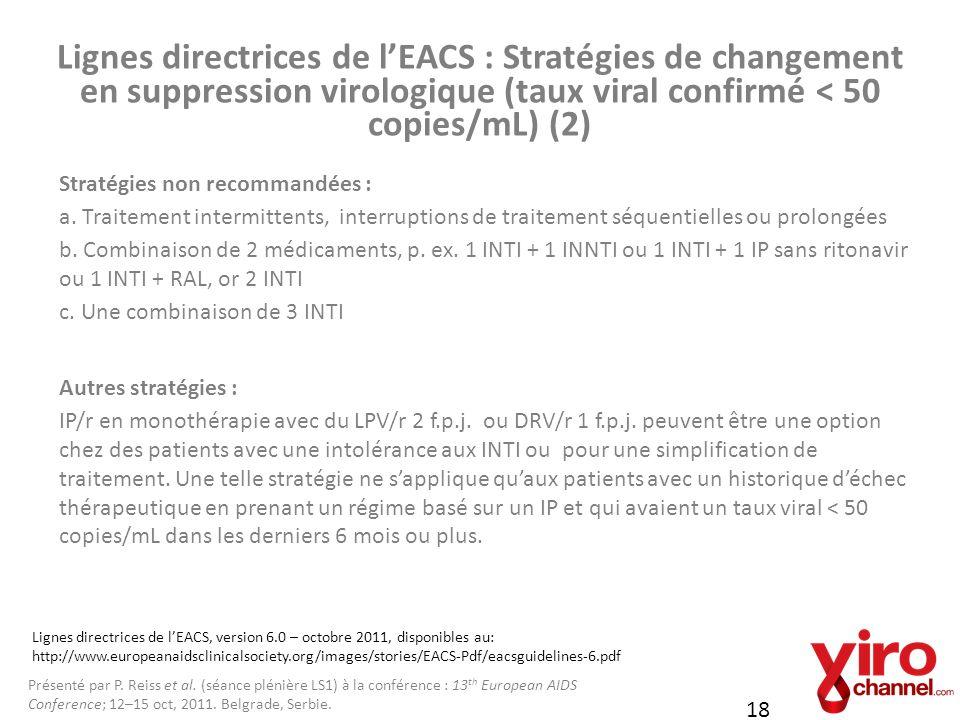 Lignes directrices de l'EACS : Stratégies de changement en suppression virologique (taux viral confirmé < 50 copies/mL) (2)