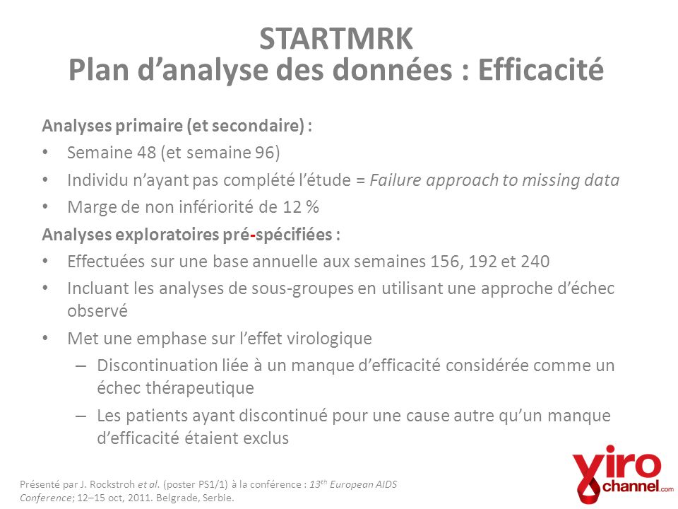 STARTMRK Plan d'analyse des données : Efficacité