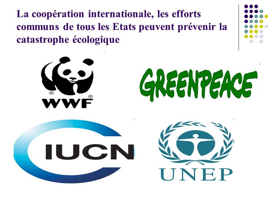 La coopération internationale, les efforts communs de tous les Etats peuvent prévenir la catastrophe écologique