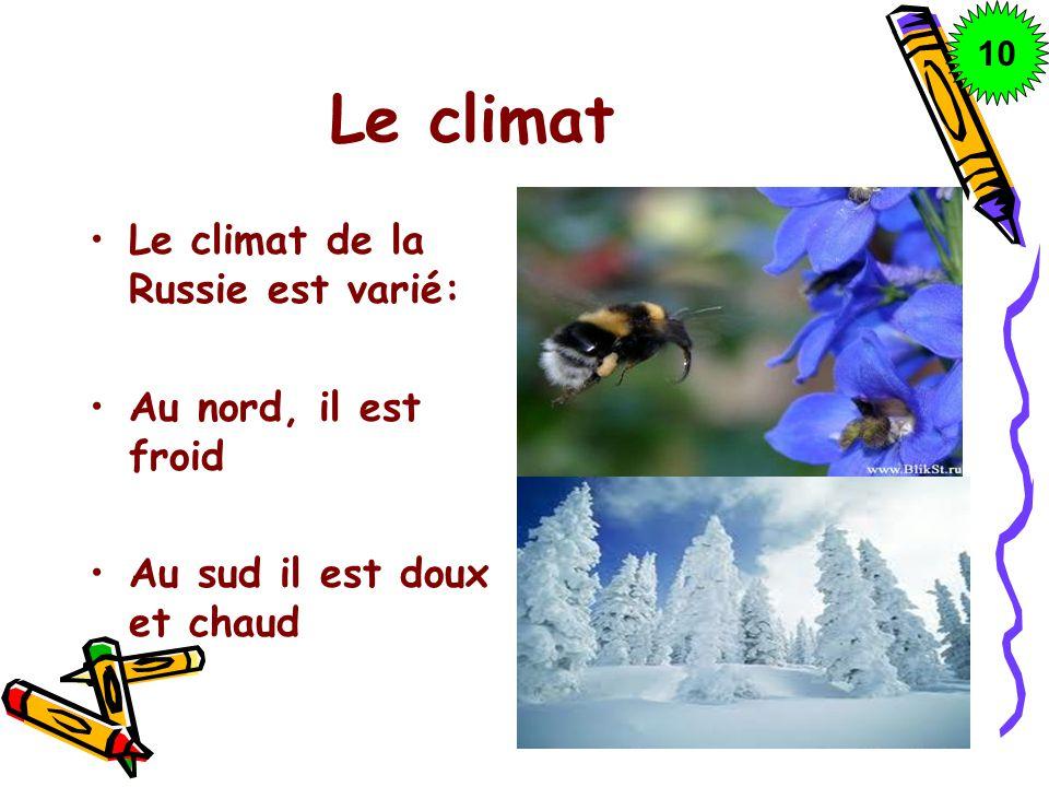Le climat Le climat de la Russie est varié: Au nord, il est froid