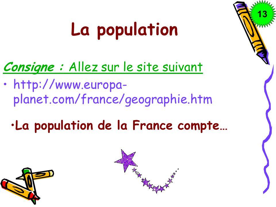 La population Consigne : Allez sur le site suivant
