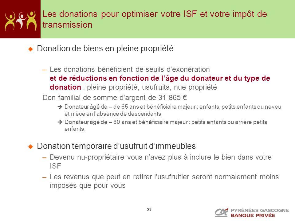 Les donations pour optimiser votre ISF et votre impôt de transmission