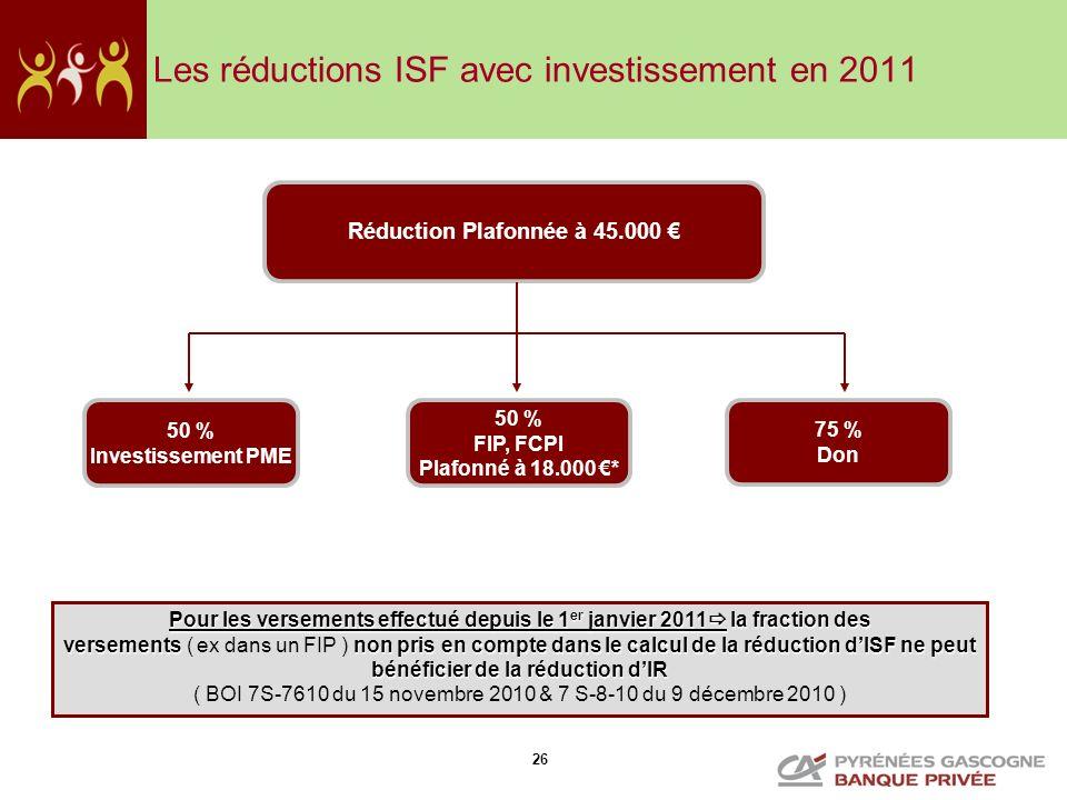 Les réductions ISF avec investissement en 2011