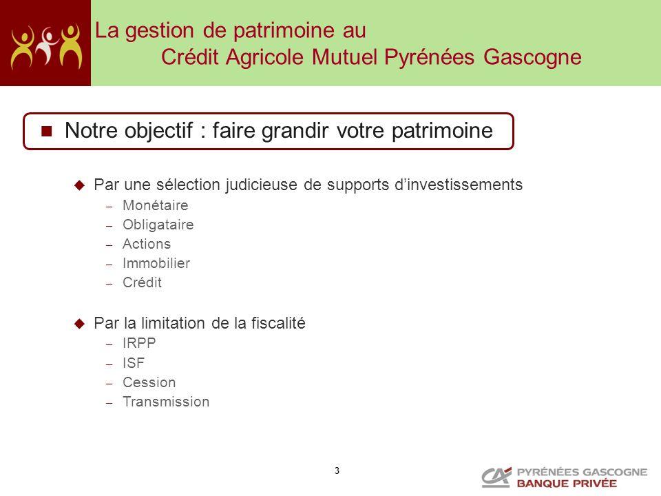 La gestion de patrimoine au Crédit Agricole Mutuel Pyrénées Gascogne