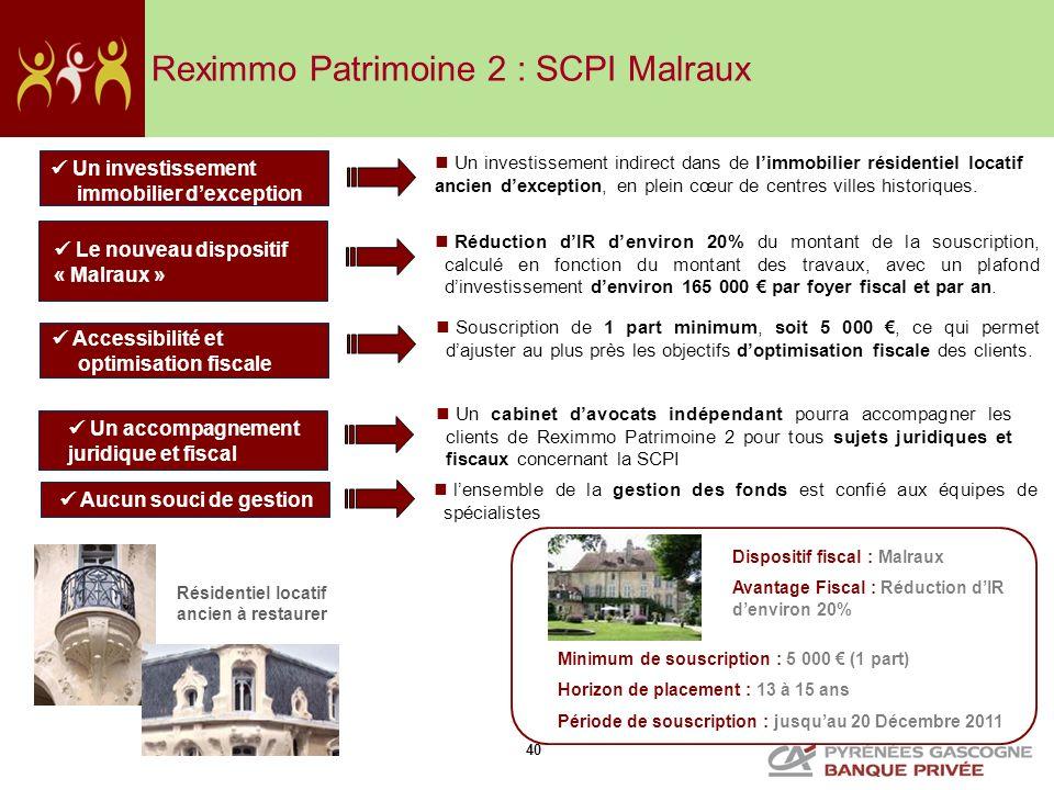 Reximmo Patrimoine 2 : SCPI Malraux