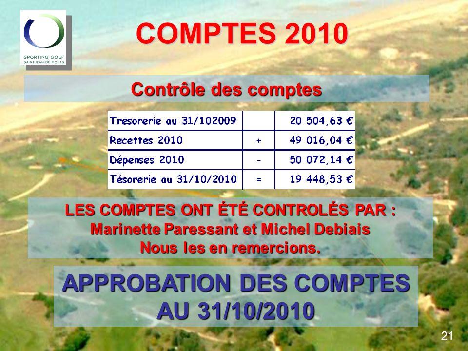 COMPTES 2010 APPROBATION DES COMPTES AU 31/10/2010