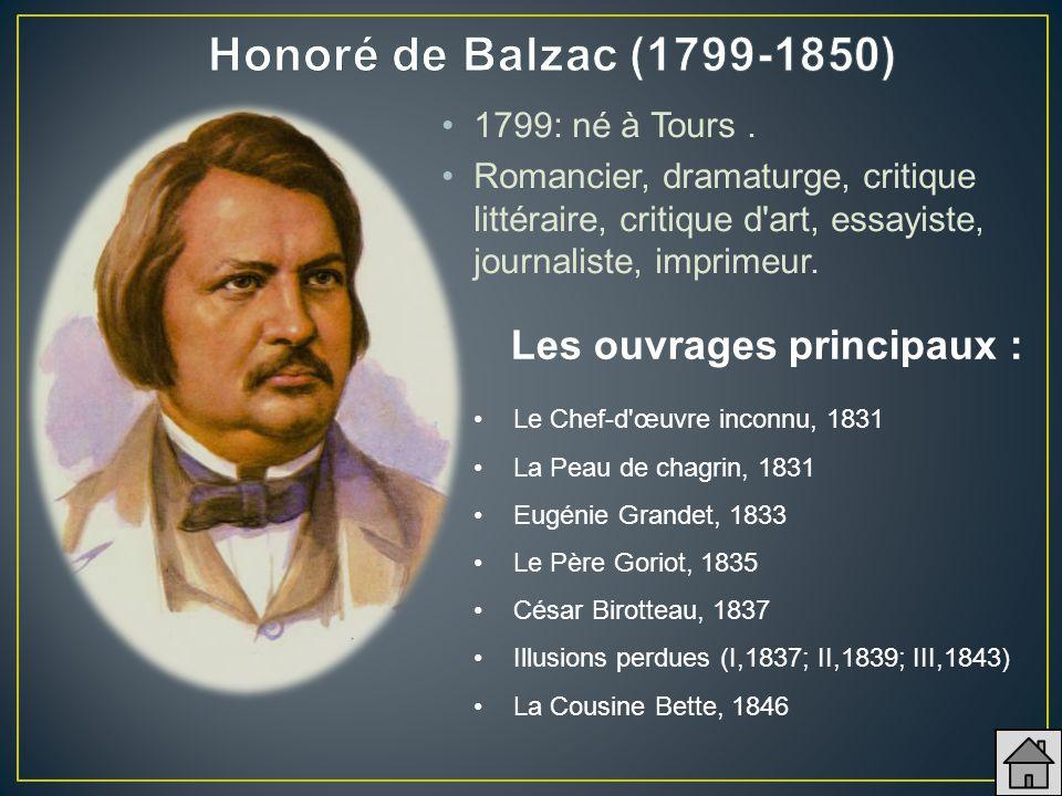 Honoré de Balzac (1799-1850) Les ouvrages principaux :