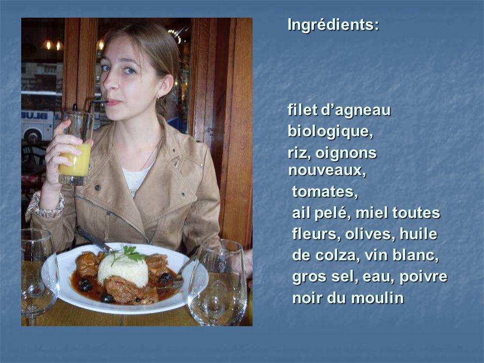 Ingrédients: filet d'agneau. biologique, riz, oignons nouveaux, tomates, ail pelé, miel toutes.