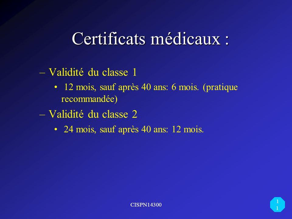 Certificats médicaux :