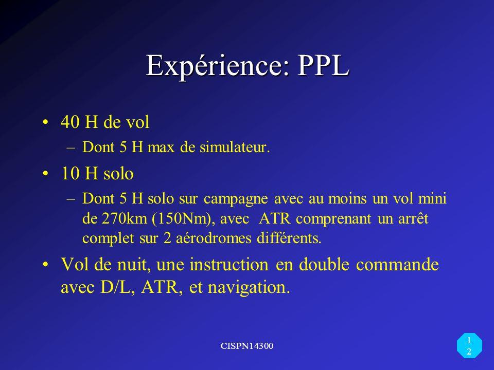 Expérience: PPL 40 H de vol 10 H solo