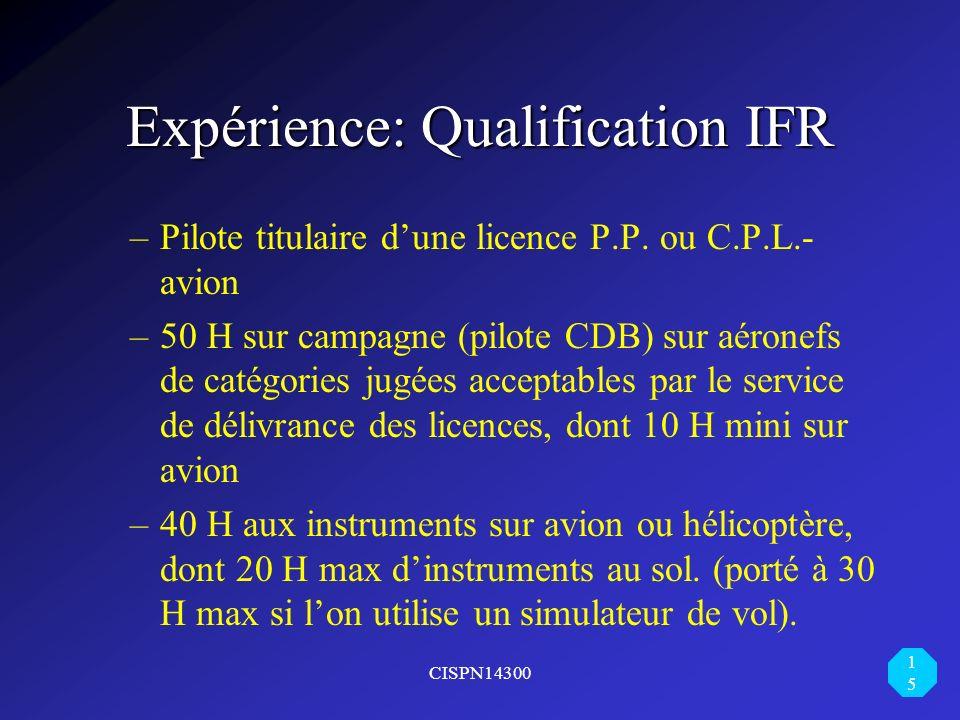 Expérience: Qualification IFR