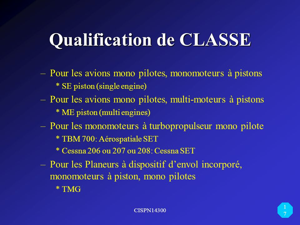 Qualification de CLASSE