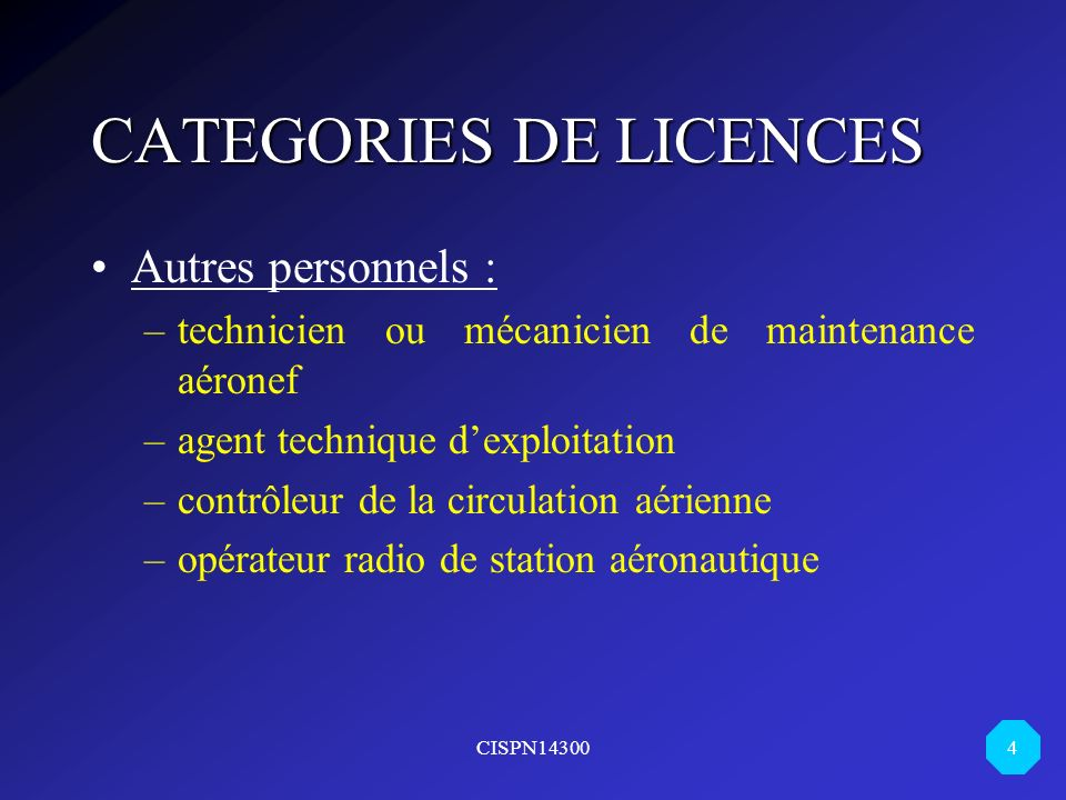 CATEGORIES DE LICENCES