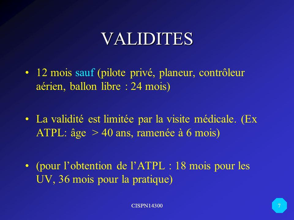 VALIDITES 12 mois sauf (pilote privé, planeur, contrôleur aérien, ballon libre : 24 mois)