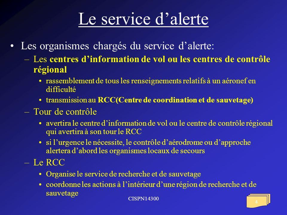 Le service d'alerte Les organismes chargés du service d'alerte: