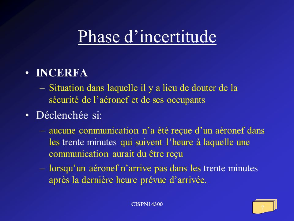 Phase d'incertitude INCERFA Déclenchée si: