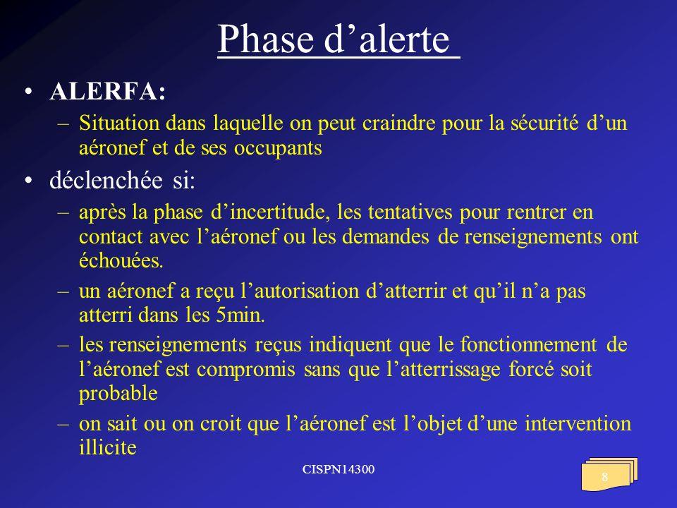 Phase d'alerte ALERFA: déclenchée si: