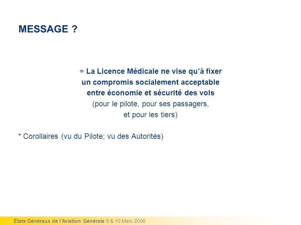 MESSAGE = La Licence Médicale ne vise qu'à fixer