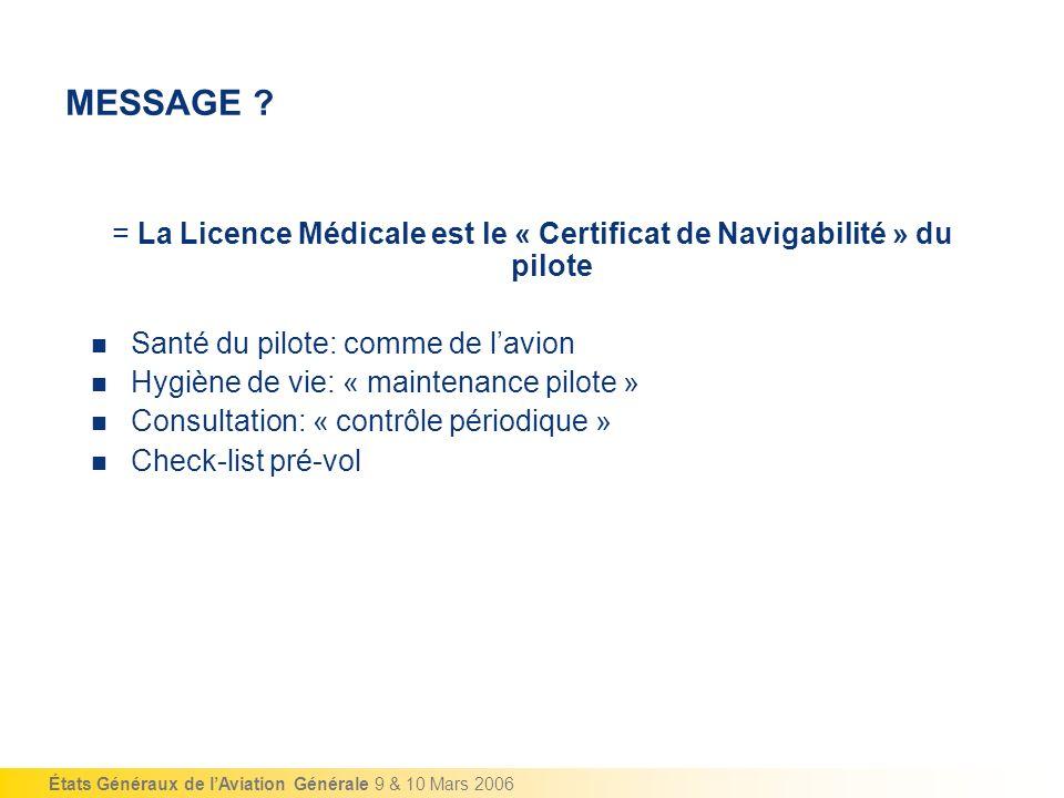 = La Licence Médicale est le « Certificat de Navigabilité » du pilote