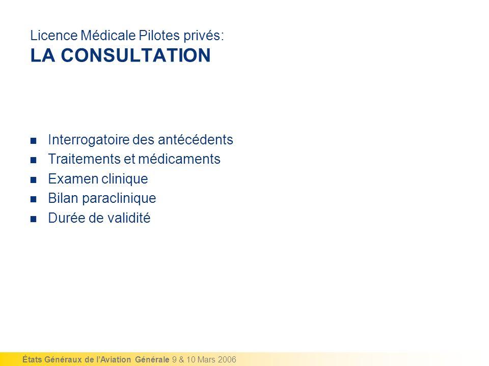 Licence Médicale Pilotes privés: LA CONSULTATION