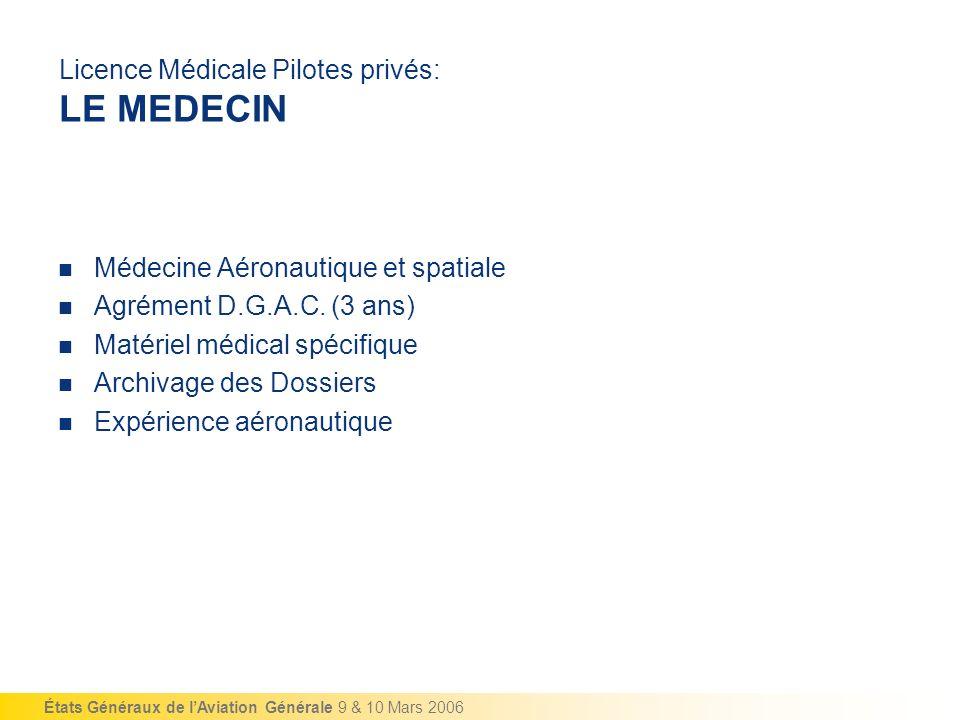 Licence Médicale Pilotes privés: LE MEDECIN