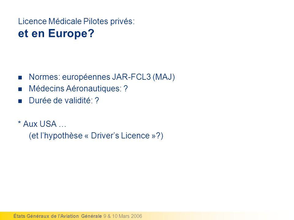Licence Médicale Pilotes privés: et en Europe