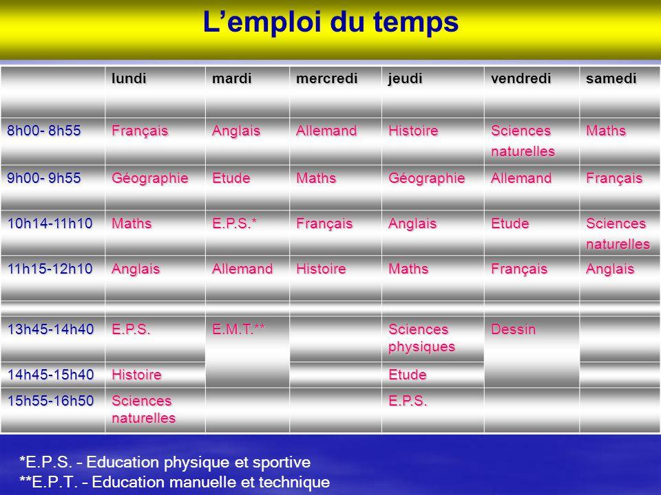 L'emploi du temps *E.P.S. – Education physique et sportive