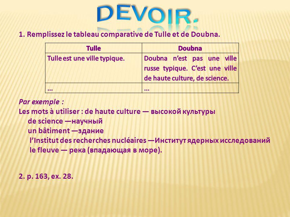 devoir. 1. Remplissez le tableau comparative de Tulle et de Doubna.