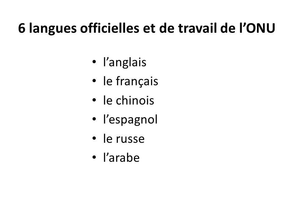 6 langues officielles et de travail de l'ONU