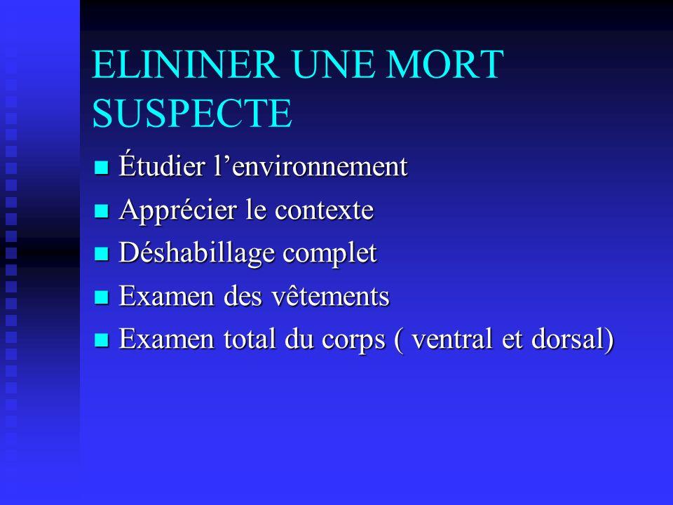 ELININER UNE MORT SUSPECTE