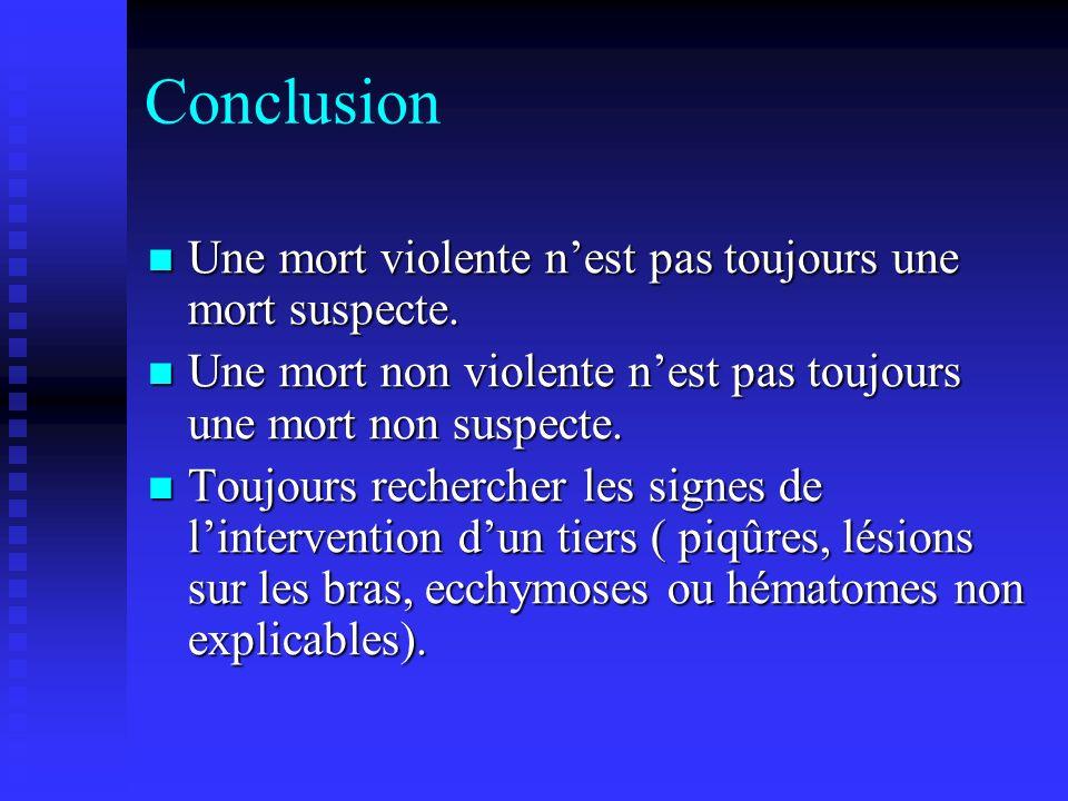 Conclusion Une mort violente n'est pas toujours une mort suspecte.